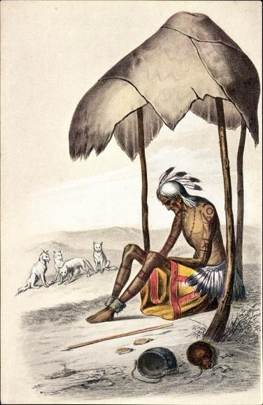 Künstler Ak Alter Indianer, von seinem Stamm verlassen und dem Untergang preisgegeben, Wölfe 0