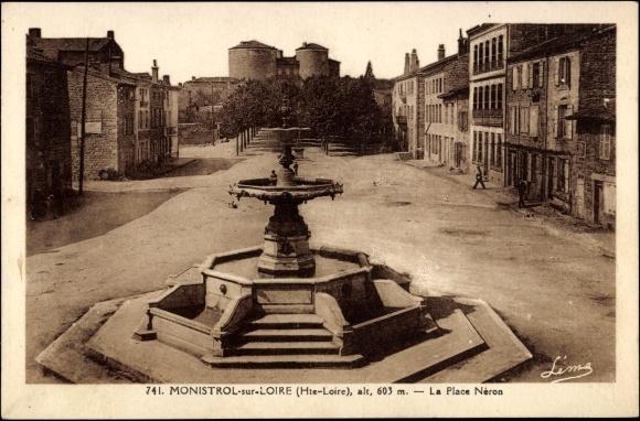 Ak Monistrol sur Loire Haute Loire, vue de la Place Néron  0