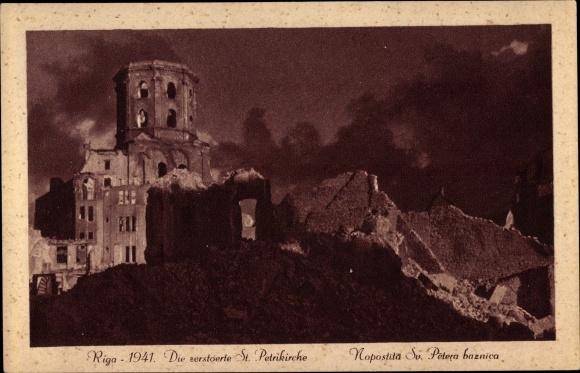 Ak Riga Lettland, Die zerstörte St. Petrikirche, Kriegszerstörungen, II. WK 0