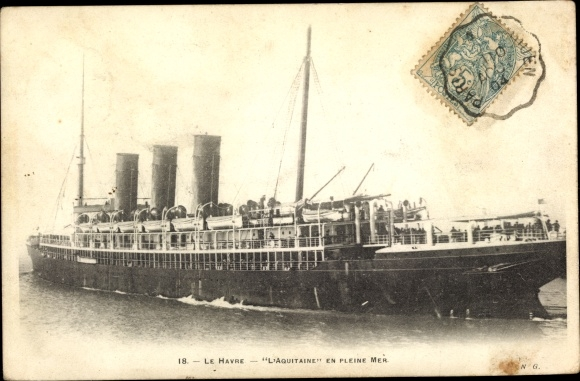 Ak Paquebot L'Aquitaine, Dampfschiff, Reederei CGT - Transatlantique 0