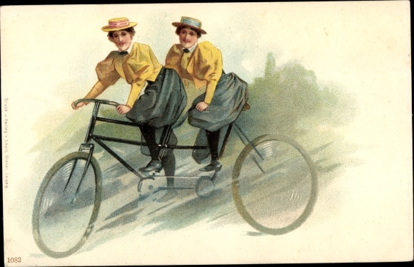 Litho Zwei Frauen auf einem Tandem, Fahrrad 0