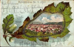 Glitzer Eichenblatt Litho Wuppertal Elberfeld, Panoramablick auf den Ort