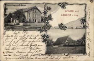 Ak Labenz in Schleswig Holstein, Warenhaus von H. Harms, Landhaus