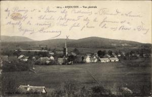 Ak Anjoutey Territoire de Belfort, Vue generale, Kirche, Felder