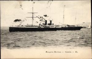 Ak Dampfschiff Océanien, auf dem Meer, Messageries Maritimes, MM