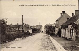 Ak Blanzy les Mines Saone et Loire, Route Pianreux, Wohnhäuser