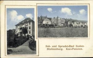 Passepartout Ak Stolzenberg Bad Soden-Salmünster, Hessen, Teilansicht, Kurpension