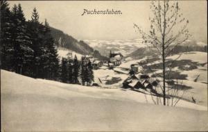 Ak Puchenstuben Niederösterreich, Höhenblick auf die Ortschaft im Winter