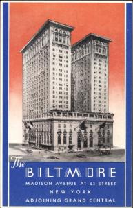 Ak New York City USA, The Biltmore, Madison Avenue at 43 Street, Hotel