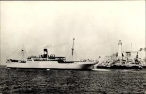 Ak Steamer SS Contessa, Vaccaro Line, Dampfschiff, Leuchtturm