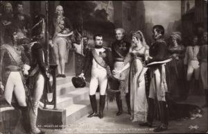 Künstler Ak Bosse, Napoleon recoit la Reine de Prusse à Tilsit 6 Juillet 1807, Musée de Versailles