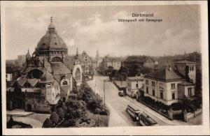 Judaika Ak Dortmund im Ruhrgebiet, Hiltropwall mit Synagoge, Straßenbahn