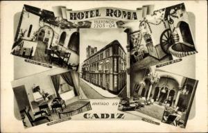 Ak Cádiz Andalusien Spanien, Hotel Roma, Tipico Bar, Habitacion, Hall