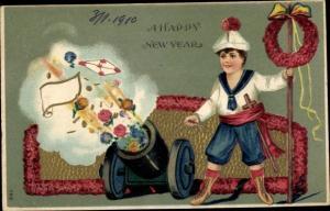 Präge Ak Glückwunsch Neujahr, Junge schießt Blumen aus Kanone