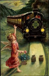 Präge Ak Glückwunsch, Engel mit Blumenkorb, Geldbeutel, Dampflokomotive