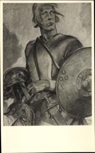 Künstler Ak Petersen, Wilhelm, Der Reiter von Valsgärde