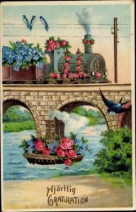 Präge Ak Glückwunsch Geburtstag, Dampfer mit Blumen in Fluss, Eisenbahn mit Blumen auf Brücke