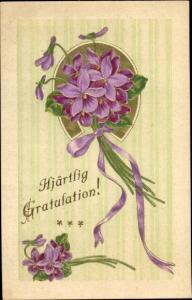 Präge Ak Glückwunsch Geburtstag, Hjärtlig Gratulation, Blumen mit Hufeisen
