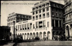 Ak Algier Alger Algerien, Hôtel Alette et le Casino Municipal