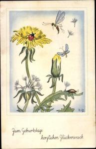 Ak Glückwunsch Geburtstag, Löwenzahn, Marienkäfer, Insekten