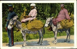 Ak Jamaika, Off to the Jaol, Frauen auf Eseln mit Mann in Uniform