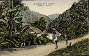 Litho Castleton Jamaika, Road, Straße mit Männern und Hütten