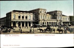 Ak Rio de Janeiro Brasilien, Estacao Central, Bahnhof, Straßenseite