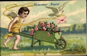 Präge Ak Glückwunsch Neujahr, Engel mit Schubkarre, Rosen, Taube