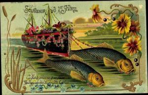 Ak 1er Avril, 1. April, Fische ziehen Schiff, Blumen