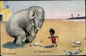 Künstler Ak O you big elephant, Elefant hat eine Gans zertreten, Gänsehirtin, Mädchen