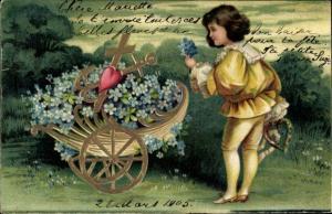 Präge Ak Glückwunsch, Kind mit Schubkarren voller Vergissmeinnicht, Anker, Kreuz, Herz