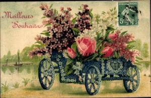 Präge Ak Kutsche aus Vergissmeinnicht, Rosen, Veilchen