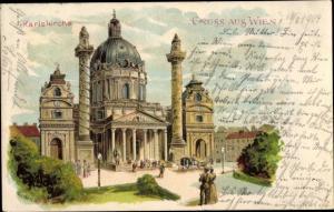 Litho Künstler Ak Geiger, P., Wien 1 Innere Stadt Österreich, Karlskirche