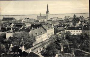 Ak Helsingør Helsingör Dänemark, Panorama vom Ort