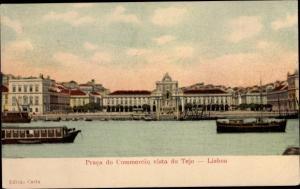 Ak Lisboa Lissabon Portugal, Praca do Commercio vista do Tejo, Salondampfer