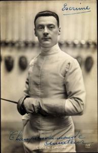 Ak Fechter Lucien Gaudin, Champion du monde amateur