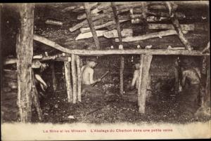 Ak La Mine et les Mineurs, l'Abstage du Charbon dans une petite veine, Bergleute im Stollen