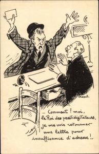 Künstler Ak PTT, Postamt, Mann am Schalter, Postbote