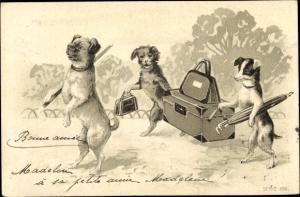 Präge Ak Hunde mit Koffern, Sonnenschirm, Handtasche, Mops