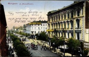 Ak Warszawa Warschau Polen, Ul. Marszatkowska, Straßenansicht, Straßenbahn