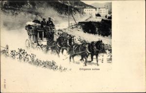 Ak Schweiz, Diligence Suisse, Schweizer Gebirgspost, Vierergespann