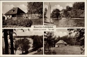 Ak Piękna Góra Schönberg Ostpreußen, Mauersee Schlösschen