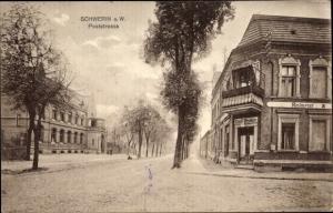 Ak Skwierzyna Schwerin Warthe Ostbrandenburg, Poststraße, Restaurant Emil Vedder