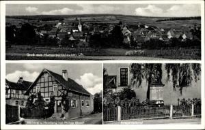 Ak Humprechtshausen Riedbach Unterfranken, Totalansicht, Bäckerei Philipp Storch, Kriegerdenkmal