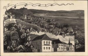 Ak Escherndorf Volkach im Kreis Kitzingen Unterfranken, Gasthof, Betrunkener am Weinfass