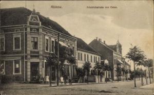 Ak Rhinow Havelland, Friedrichstraße von Osten, Straßenpartie, Geschäft H. Borgwardt