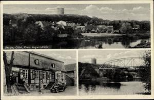 Ak Stolpe Angermünde in der Uckermark, Gasthof A. Pfeifer, Brückenpartie