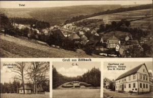 Ak Zillbach Schwallungen Thüringen, Totalansicht, Zehnbubenhaus, Gasthaus zur schwarz. Henne