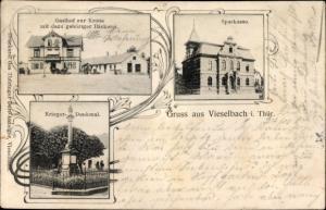 Ak Vieselbach Erfurt in Thüringen, Gasthof zur Krone, Bäckerei, Sparkasse, Kriegerdenkmal