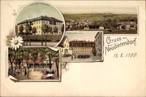 Litho Neudietendorf Nesse Apfelstädt Thüringen, Mädchenpensionat, Schwesternhaus, Gasthof